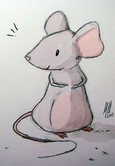 mouse sketch and watercolor - mike martin