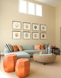 Warm Sage Green Living Room With Rusty Orange See Website
