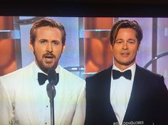 Because this was THE moment of the evening. Ryan Gosling and Brad Pitt, together. And looking SO handsome. Golden Globes glory.