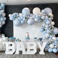 A very blue baby shower set up for our mom to be We love this simple yet elegant design for such a special occasion Props mintproprentals Cake cakecreationsbym Balloons balloonsbydina Baby Shower Decorations For Boys, Boy Baby Shower Themes, Baby Shower Balloons, Birthday Party Decorations, Baby Boy Shower, Cloud Baby Shower Theme, Baby Boy Balloons, Baby Boy Baptism, Shower Set