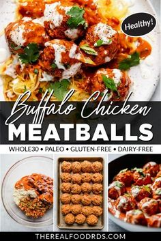 Add these Healthy Buffalo Chicken Meatballs to your weeknight dinner menu, weekend meal prep rotation, or enjoy them as a tasty and fun appetizer! An easy baked buffalo chicken meatball recipe that is sure to please the whole family. || The Real Food Dietitians ||