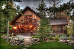 Beautiful cabin.... Love the stonework