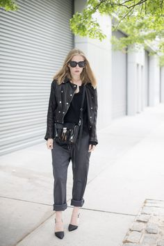 slouchy pants and leather jacket...