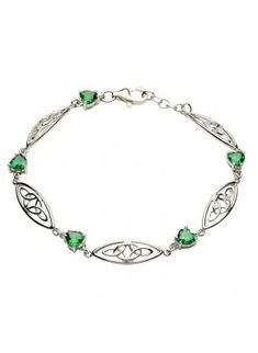 Sterling-Silver-Celtic-Trinity-Bracelet-With-Green-Cz