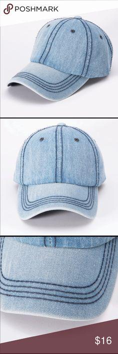 84e22418cb4 Light wash denim baseball cap hat Soft denim baseball cap