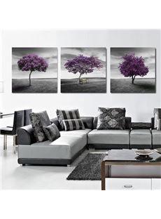 New Arrival Elegant Purple Tree and Grey Sky Print 3-piece Cross Film Wall Art Prints