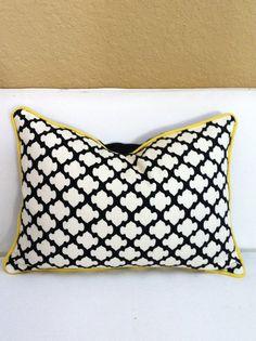 Morrocan Tile Print Lumbar Pillow in Black by LuxDesignsFlorida, $34.99