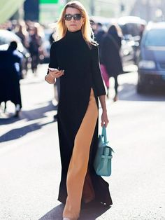 Turtle neck maxi dress with high-slit worn over camel colored trouser pants dress over pants Look Fashion, Winter Fashion, Womens Fashion, Fashion Trends, Fashion 2015, Dubai Fashion, Petite Fashion, Fashion Spring, Fashion Styles