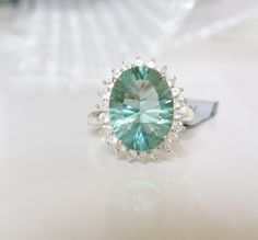 New Sterling Silver 9ct Mint Green Tourmaline Faceted Moonstone Halo Ring Sz 9 #Cluster