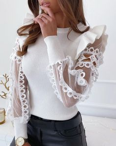 Felyn 2020 New Arrival Campus Style T shirt White Embroidery Ruffles Lace Transparent Sleeve Street Wear T-shirt Tops Fashion 2020, Girl Fashion, Fashion Dresses, Womens Fashion, Fashion Design, Stylish Dresses, Cheap Fashion, Style Fashion, Latest Fashion