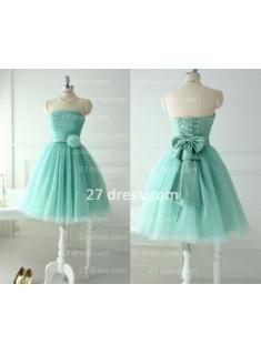 Lace-up Bow Flower Knee Length Ruffles Strapless Sleeveless WeddingParty Gowns Many colors avail