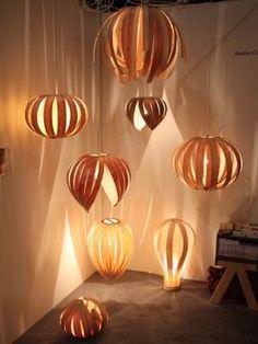 Wood pendant lights by Huyen Duong