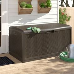 New Java Herringbone Outdoor 124 Gallon Resin Deck Box by Suncast. Patio Garden Furniture from top store Patio Storage, Shed Storage, Storage Boxes, Storage Trunk, Patio Furniture Cushions, Outdoor Cushions, Plastic Storage Sheds, Garbage Shed, Deck Box