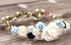 Navy Floral Head Wreath Leaf Dusty Blue Wedding Flower Crown Greenery Head Wreath Bridal Floral Headpiece Boho Light Blue Rose Hair Wreath by weddingflowercrown on Etsy
