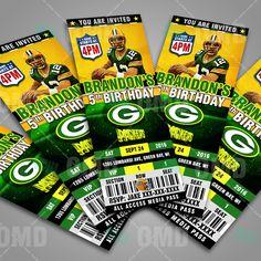 Green Bay Packers Football Sports Party Invitations #sportsinvites