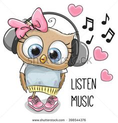 Illustration about Cute cartoon Owl Girl with headphones and hearts. Illustration of animals, dress, fashion - 69473973 Cartoon Cartoon, Cute Owl Cartoon, Owl Clip Art, Owl Art, Animals And Pets, Cute Animals, Small Animals, Girl With Headphones, Owl Pictures