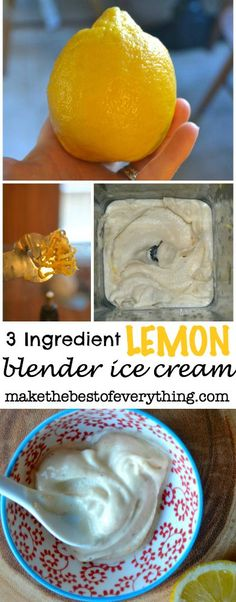 Lemon Banana Ice Cream - frozen bananas, dash milk or yogurt, lemon juice, lemon zest, vanilla extract. Just blend! Ice Cream Desserts, Frozen Desserts, Ice Cream Recipes, Frozen Treats, Healthy Desserts, Delicious Desserts, Dessert Recipes, Frozen Banana Recipes, Easy Desserts