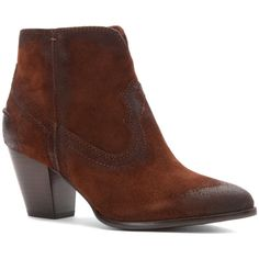 Frye Women's Renee Seam Short Boots (385477204) ($144) ❤ liked on Polyvore featuring shoes, boots, ankle booties, brown, leather ankle boots, cowboy boots, brown ankle boots, short brown boots and brown cowgirl boots