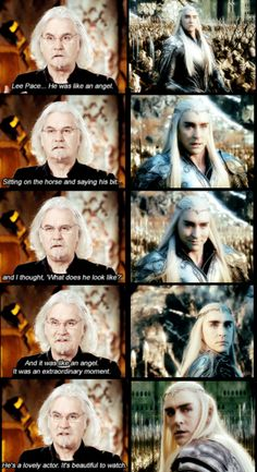 Billy Connolly (Dain Ironfoot) on Lee Pace as Thranduil..