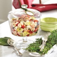 Lidded Trifle Bowl with Shrimp and Artichoke Pasta from  Ballard Designs