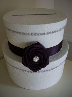 DIY Card Box Wedding : DIY Cardbox Make something like this, cut bottom, hot glue, add ribbon Diy Card Box, Gift Card Boxes, Diy Box, Diy Cards, Wedding Day Messages, Card Box Wedding, Purple Ribbon, Lace Ribbon, Trendy Wedding