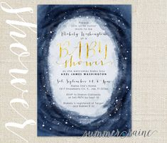 Baby boy shower invite - night time vibes with dark blue watercolor sky