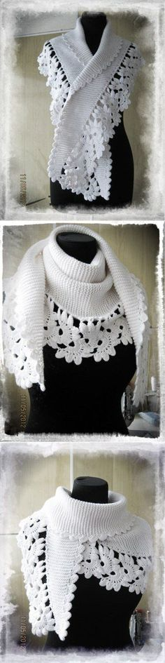Combined crochet and knitting: floral lace tape as edging and Baktus, a very simple knit shawl in garter stitch. Gilet Crochet, Crochet Lace Edging, Knitted Shawls, Crochet Scarves, Crochet Shawl, Crochet Clothes, Knit Crochet, Shawl Patterns, Knitting Patterns