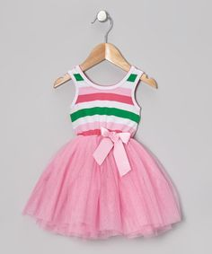 Take a look at this Pink Stripe Tulle A-Line Dress - Toddler & Girls by Designer Kidz on #zulily today!