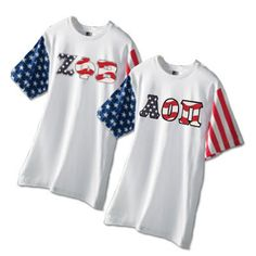 Greek Stars and Stripes T-Shirt with Sewn-On Letters - Code V
