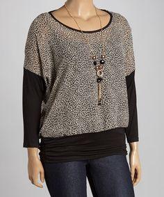Love this Black Leopard Scoop Neck Top - Plus on #zulily! #zulilyfinds