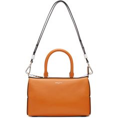 Emilio Pucci Orange Classic Shoulder Bag (2,475 CAD) ❤ liked on Polyvore featuring bags, handbags, shoulder bags, orange, orange leather purse, duffle bag, leather shoulder bag, leather handbags and leather duffle bag