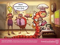 of foodborne illness outbreaks attributed to food handlers are caused by germs on hands. That's why handwashing is so important in food preparation. Safety Cartoon, Hand Washing Station, Feeling Appreciated, Food Safety, Working Area, Safe Food, Cartoons, Cartoon
