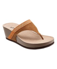 Cognac Heights Leather Wedge Sandal