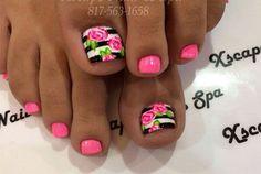 Pink flowers nails toe - Uñas de rosas para los pies