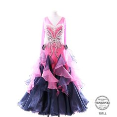 Chrisanne pink and black modern dress crystal bodice design ruffle layered