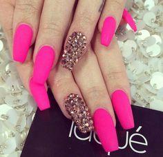 Laque Nail Bar   Matte Neon Pink Acrylic Nails w/ Rhinestones