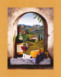 Dreaming of Tuscany print.  Red wine,cheese,grapes.