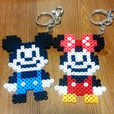 Mickey and Minnie Mouse keyring perler beads by narae.90