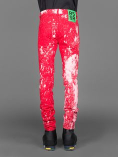 RAF SIMONS FIVE POCKET BLEACHED SLIM FIT JEANS