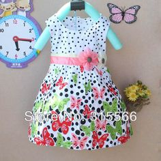 size:90-130 Retail !2014 Summer Girl dress Pleated cotton Butterfly Casual Dress Kids Baby  Princess dress 2color