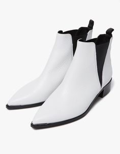 Chelsea boot from Acne Studios in White. Pointed toe with metal detail. Elasticized gore at lateral and medial sides. Heel pull tab. Leather lining. Tonal stitching. Lightly padded footbed. Stacked block heel.   • Leather upper • Leather sole • Made i