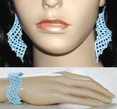 Macrame set, wristband and earpieces, light blue, white silverish metal beads Diy Jewelry Set, Metal Beads, Macrame, Crochet Necklace, Light Blue, Etsy, Armband, Crochet Collar, Pastel Blue