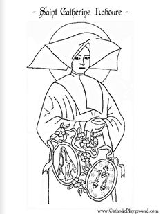Saint Catherine Laboure Catholic coloring page  Feast day is November 28