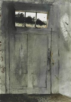 Andrew Wyeth (1917 — 2009, USA) Front Door at Teel's. 1954 watercolor on paper laid down on board.  28 x 20 in. (71.1 x 50.8 cm.)