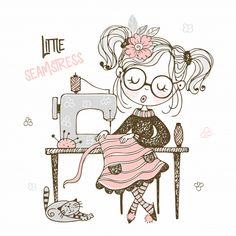 Cute girl seamstress sews on a sewing machine dress. Doodle Frames, Costura Vintage, Sewing Machine Drawing, Sewing Clipart, Cartoon Background, Cartoon Sketches, Sewing Art, Cute Drawings, Cute Cartoon