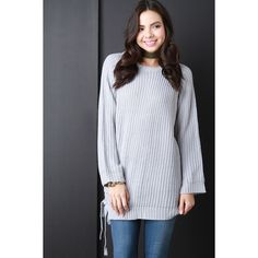 CollectiveFab Chunky Knit Side Tie Sweater Top ($79) ❤ liked on Polyvore featuring tops, sweaters, grey, grey long sleeve top, extra long sleeve sweater, round neck sweater, rayon sweater and chunky knit sweater