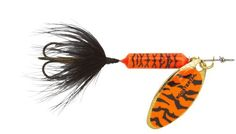 Yakima Bait Wordens Original Rooster Tail Spinner Lure, Orange Tiger, 3/8-Ounce:   Worden's Original Rooster tail 3/8-Ounce Multi-Specie Casting and Trolling Spinner offers a unique spinning action, in-line weighted body design, genuine silver, brass or copper blades and a pulsating hackle tail that attracts fish like no other spinner on the market.