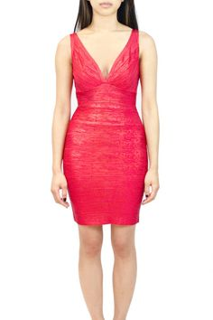 Deep V Metallic Bandage Dress Available in: Red, Blue, Silver and Gold  oakandstate.com