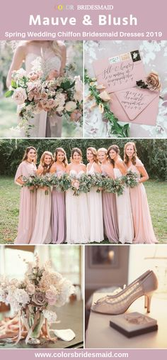 Chiffon bridesmaid dresses mauve and blush spring wedding ideas with wedding bouquets, flowers, invitations and shoes. Source by colorsbridesmaid ideas 2019 Blush Wedding Colors, Mauve Wedding, Yellow Wedding, Floral Wedding, Wedding Flowers, Purple Bouquets, Wedding Bouquets, Wedding Shoes, Dress Wedding