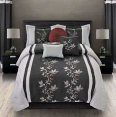 "7Pcs King Mia Embroidered Comforter Set Black/Gray by KingLinen. $59.99. This beautiful ensemble features contemporary pintucking and traditional grapevine embroidery, an eclectic set that will be great for any bedroom. 3 decorative pillows included.FeaturesSize: KingColor: Black/Gray/Burgundy100% PolyesterMachine washableThis set includes:1  Comforter (101""x86"")2  Shams (20""x36"")1  Bedskirt(78""x80""+14"")3  Decorative Cushions. Save 80%!"